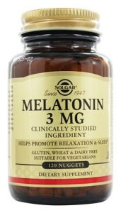 A bottle of melatonin 3mg tablets manufactured by Solgar.